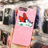 Lovely Cartoon Cute Mickey Minnie 3D Sexy Lace Money Pocket Mobile Phone Housing For IPhone7 7Plus