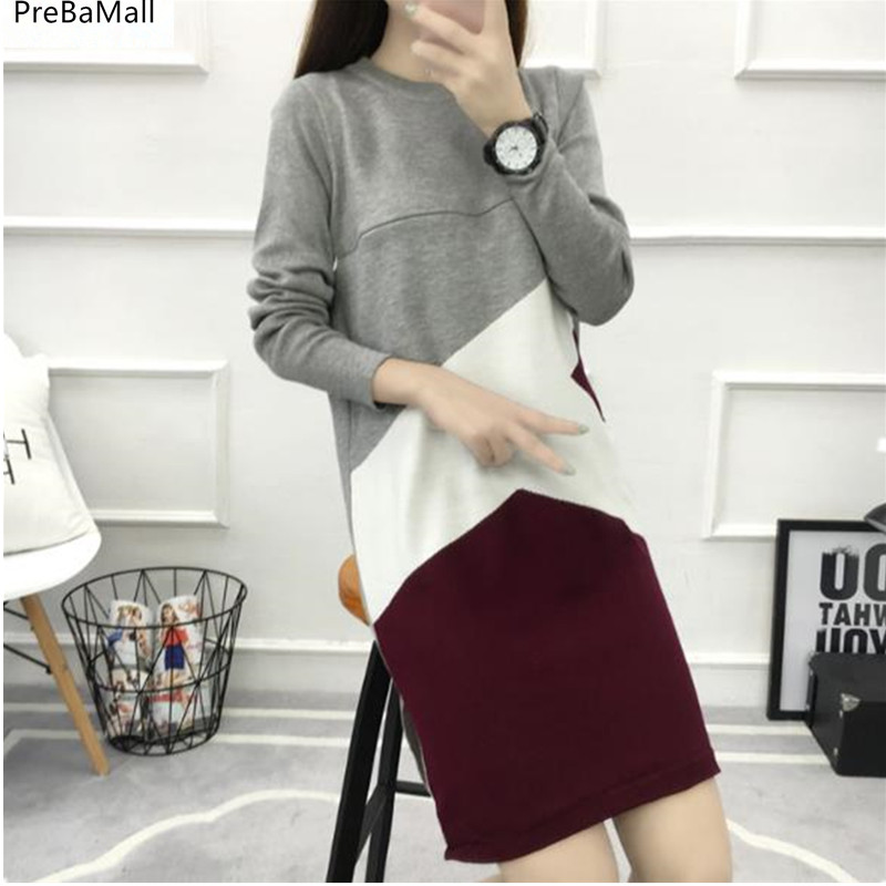 Maternity Breastfeeding Dresses Autumn Winter Clothes for Pregnant Sweaters Colorblocked Knit Nursing Maternity Sweaters B0474 knitted sweaters sets spring autumn nursing dress breastfeeding maternity clothes for pregnant woman striped lactation feeding