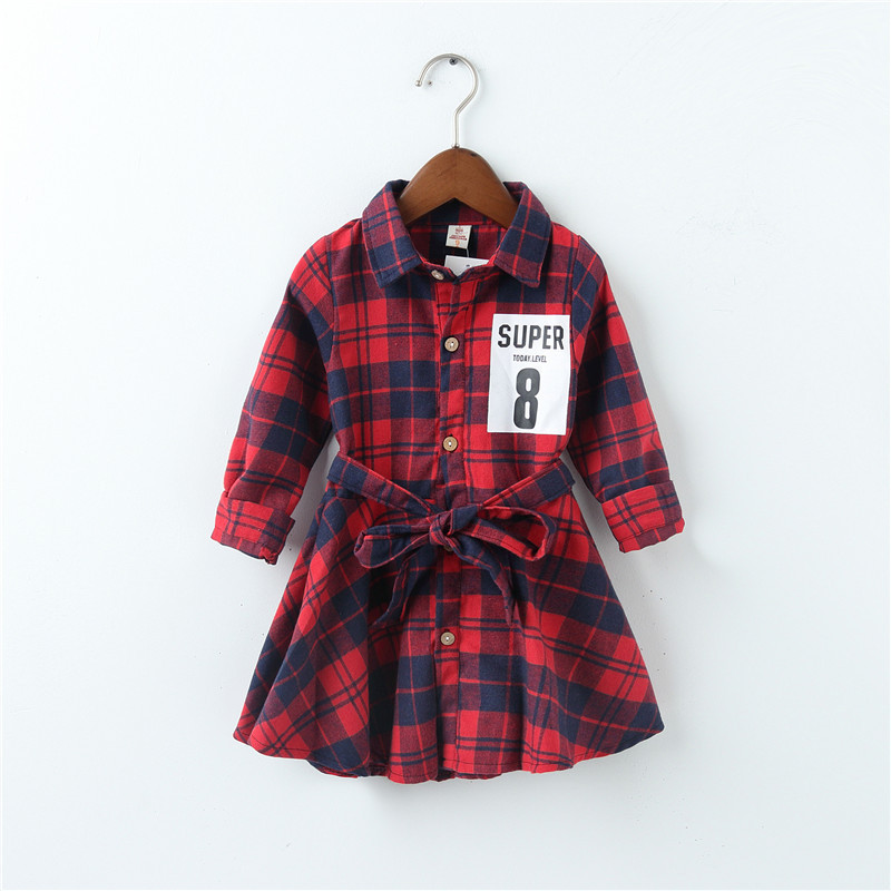 LILIGIRL Christmas Gift Girl Dress Plaid Shirt Casual Dresses Printing Kids Party Polo Shirts Dress Oddler Fashion Clothes 2-7y uoipae girl party dress 2018 casual