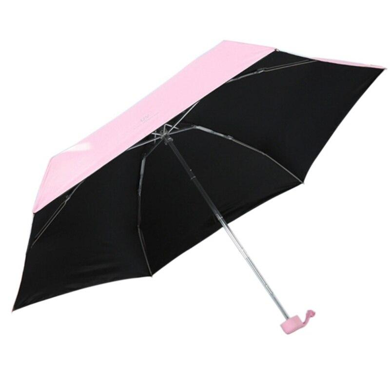Hot Ultra léger Mini parapluie soleil parasol Protection UV Sombrilla pour la pluie et le soleil cinq parapluie pliant en plein air