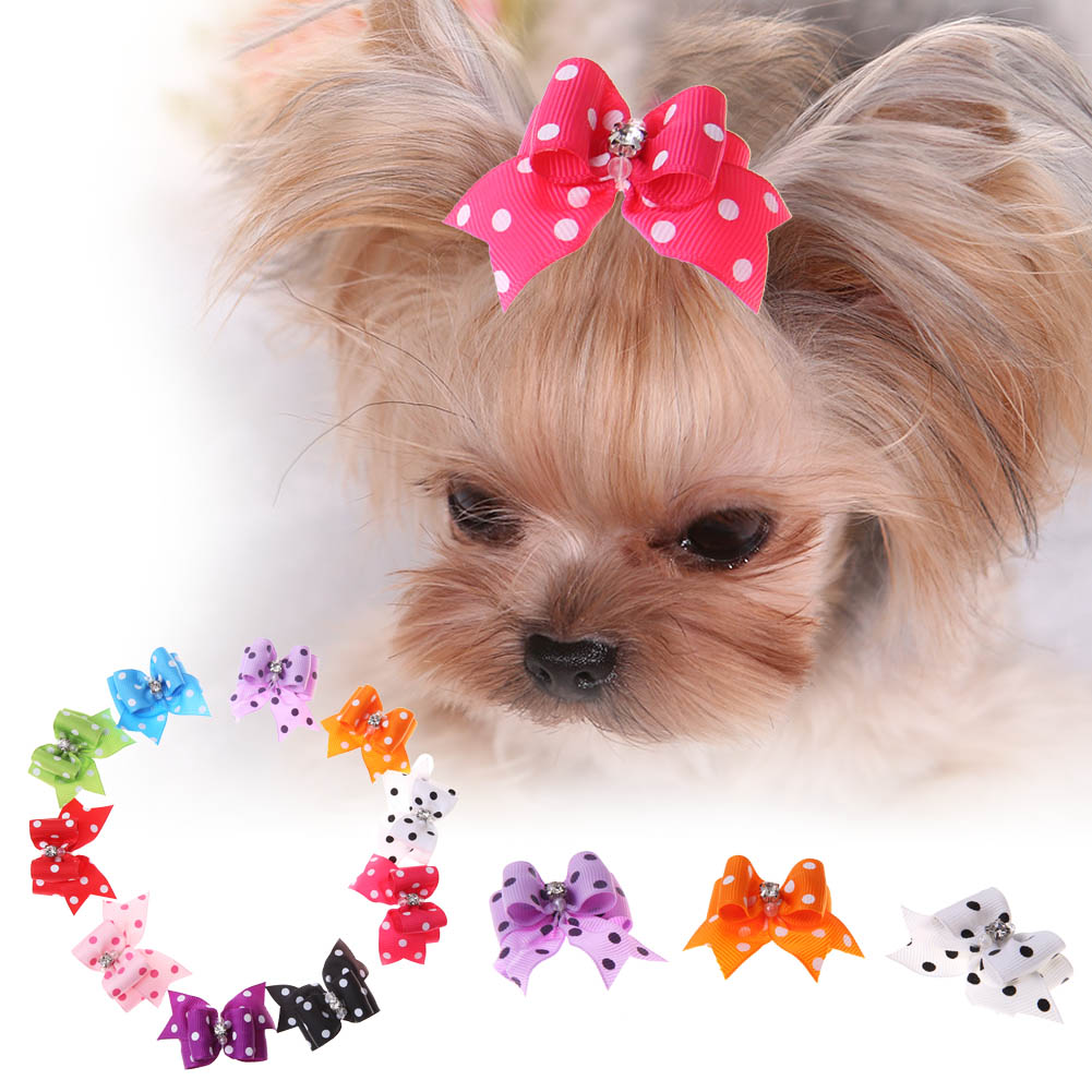 10pcs/set Pet Cat Dog Small Puppy Pet Dog Rhinestone Hairpin Hair Bow Rubber Bands Grooming Small Puppy Cats Clips Accessories