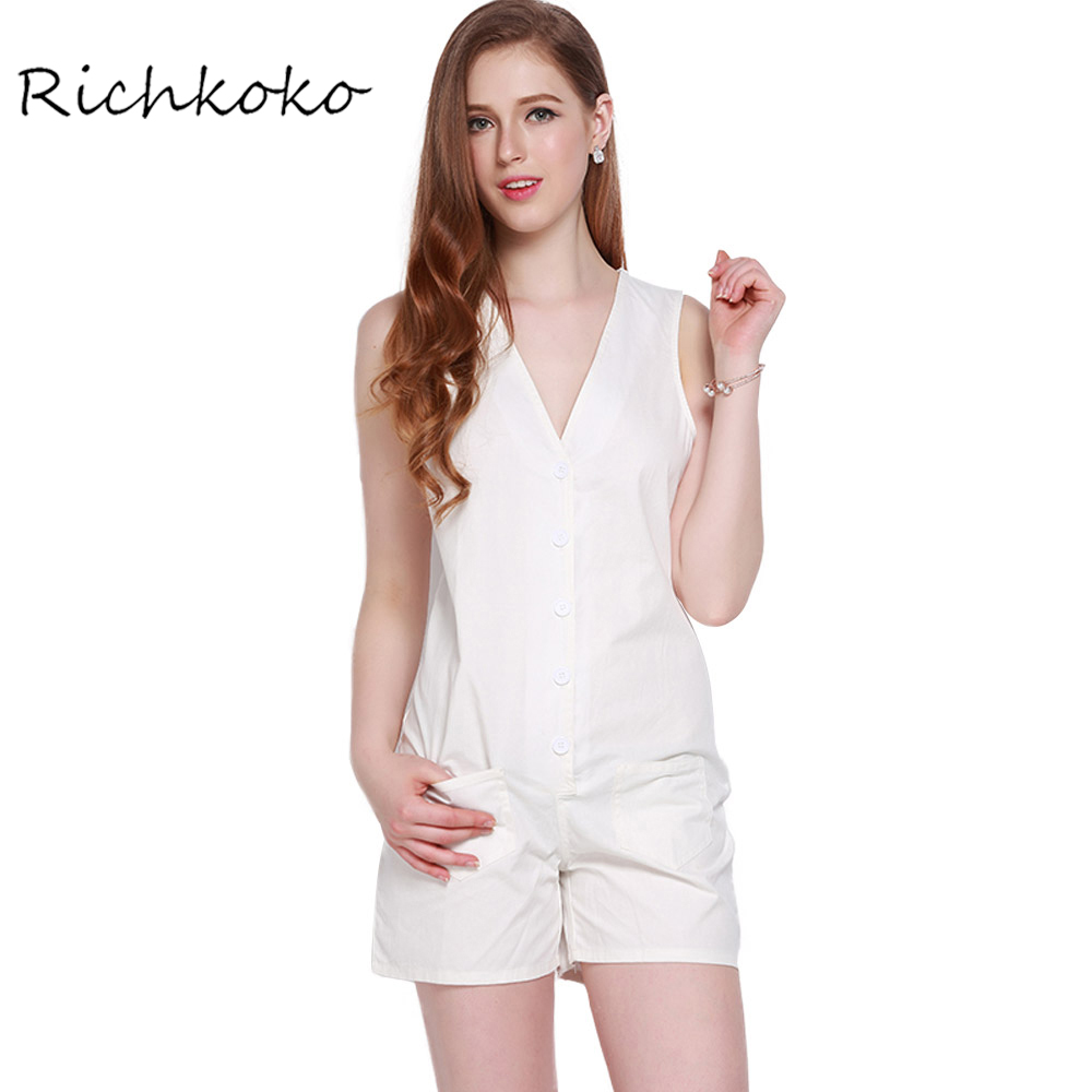 RichKoKo White Playsuits Women Sleeveless V-neck Single Breasted Basic Romper Ladies O-neck Sexy Slim Summer Playsuits Female ...