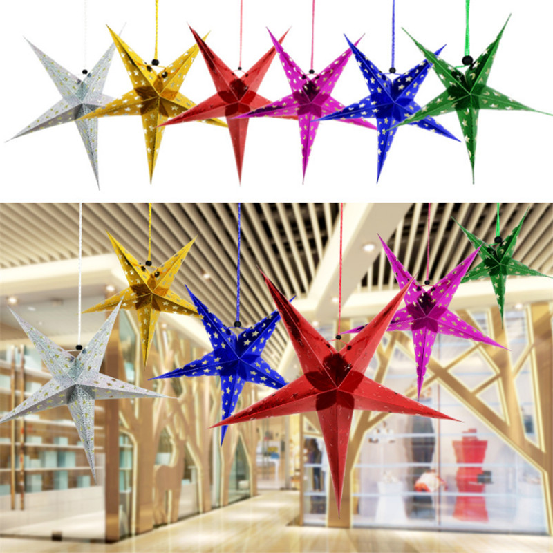 6pcs 30cm Colorful Laser Five-pointed Star Ceiling Decoration Christmas Party Christams Gift Decoration New Year Navidad NatalB ...