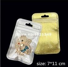 5000pcs/lot,7*11cm Gold/silver Self Seal Zipper Plastic Retail Packaging Storage Bag, Zip Lock plastic Bag W/ Hang Hole