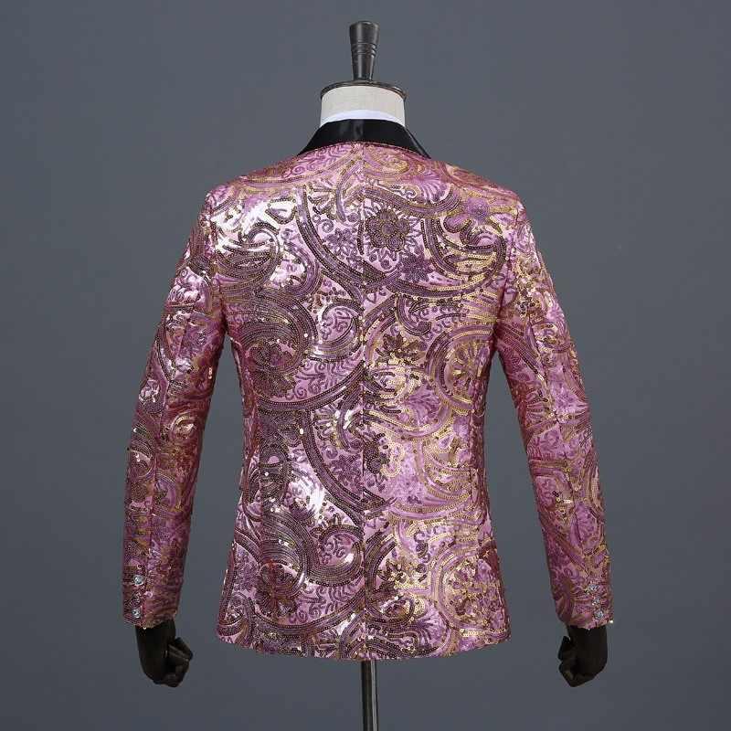 PYJTRL плюс размер 4XL Tide Мужская шаль с кристаллами и отворотом, розовый, золотой цветок, блестки, необычный тонкий костюм, куртка DJ Singer дизайн Блейзера