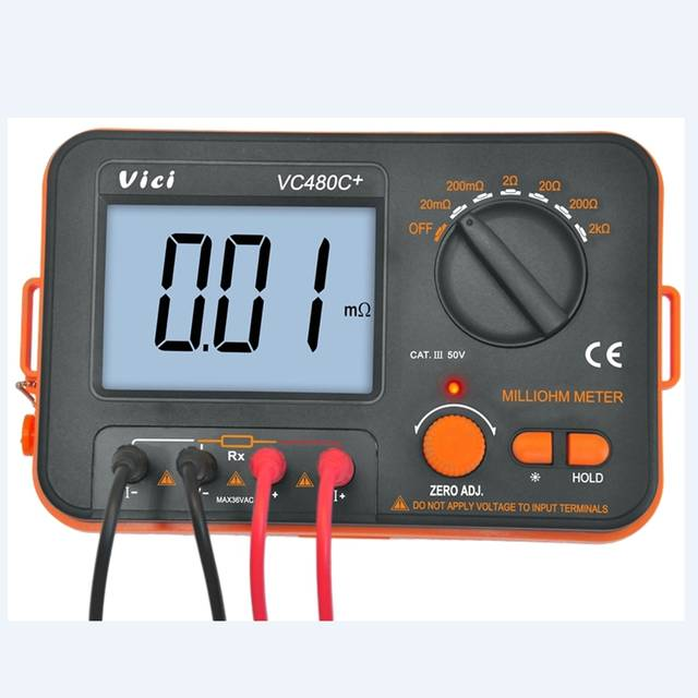 US $97 51 8% OFF|3 1/2 Digital Milli ohm Meter Accuracy 4 Wire Test  Backlight Multimeter Precision Low Resistance Tester 0 01Mohm to 2Kohm  VC480C-in