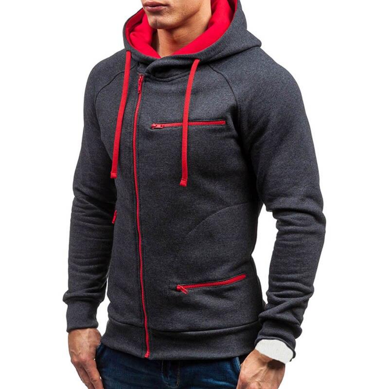 2020 Men Hoodie Sweatshirt New Casual Solid Long Sleeve Mens Hoodies Slim Zipper Hooded Cardigan Sweatshirts Men Hoody Sweat Homme 2