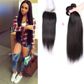 8A Cambodian Virgin Hair With Lace Closure Cambodian Straight Virgin Hair With Closure Cheap Human Hair 3 Bundles With Closure