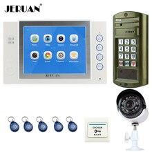 "JERUAN NEW Metal Waterproof Password keypad HD Mini Camera 8"" TFT Color Video Intercom Door Phone System kit + Analog Camera"