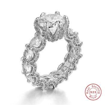 93916d8ca9b5 De lujo de Plata de Ley 925 dragón garras anillos para las mujeres CZ  pintura completa 3ct simulado diamante boda anillo de la joyería