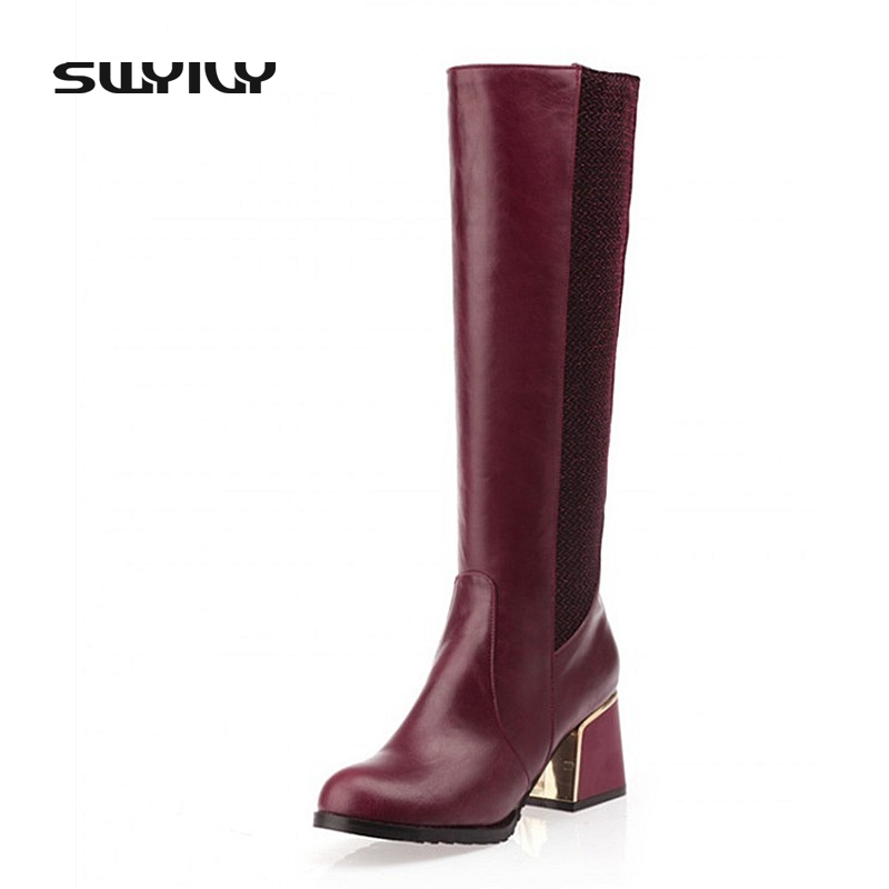 Mixed Colors Fashion Women Boots Autumn And Winter Thick Heels Knight Boots Stretch Knee High Shoes Zapatos Mujer Botas mixed colors fashion women boots autumn and winter thick heels knight boots stretch knee high shoes zapatos mujer botas