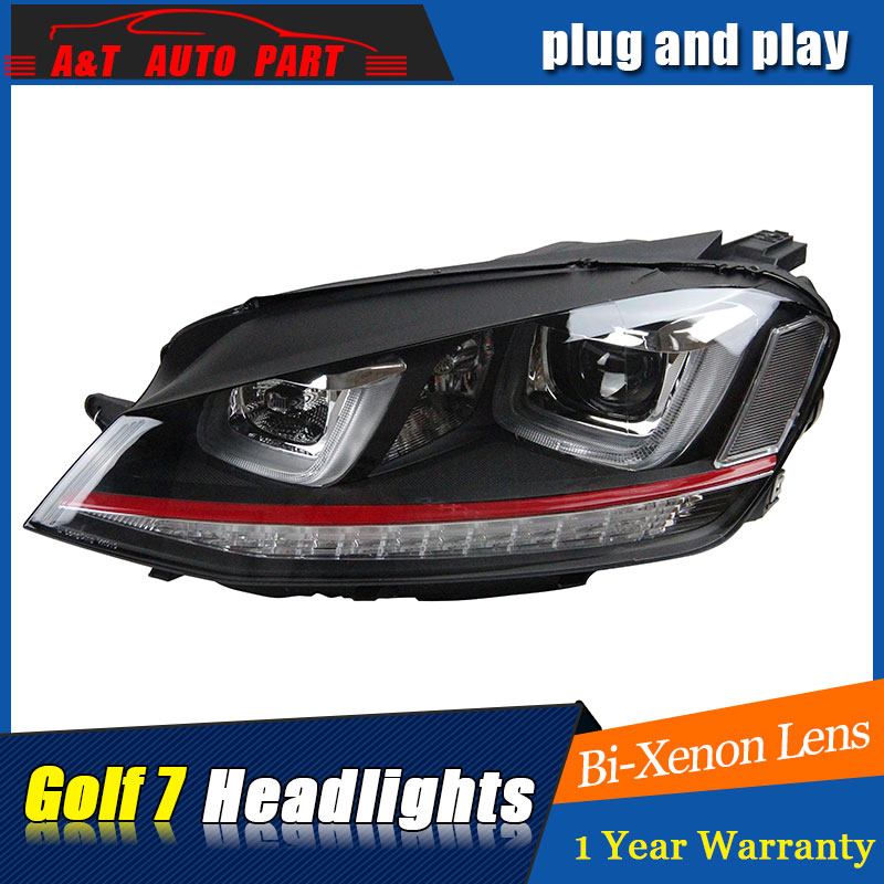Car Styling For VW Golf 7 headlights 2013-2014 Golf7 led headlight GIT head lamp Angel eyes led H7 hid R20 Bi-Xenon Lens hot selling 360 degree cob led devil eyes headlights demon eye for 3 0 inch car headlight projector lens ring car styling