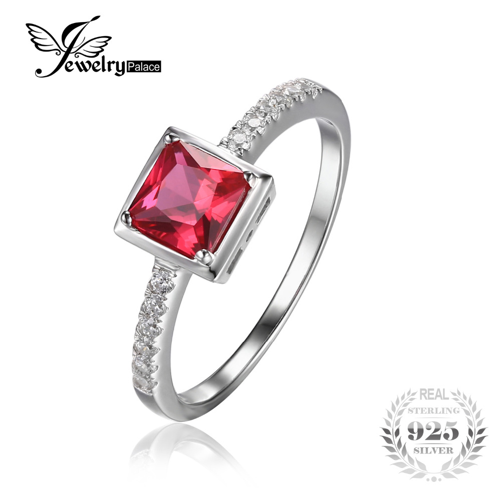 JewelryPalace Square Cut 0.7ct Created Red Ruby Ri.