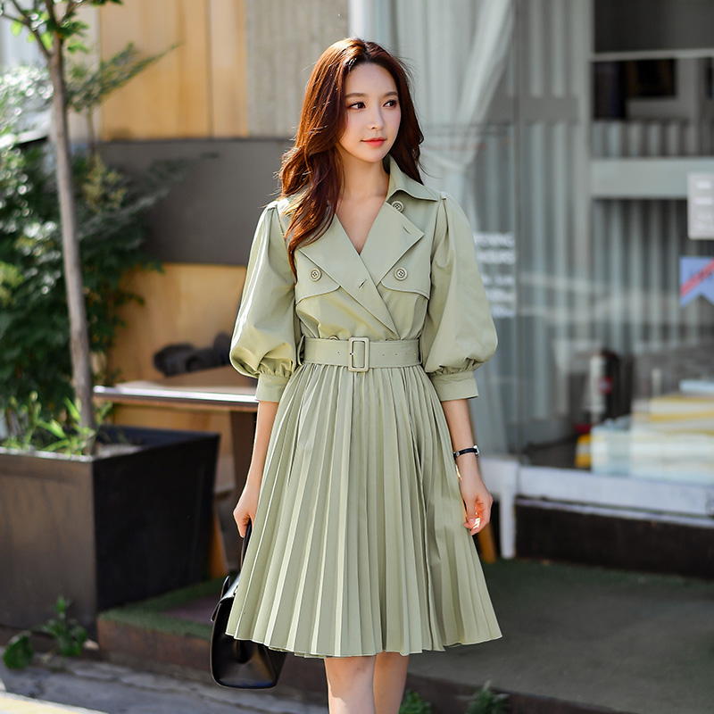 Dabuwawa Autumn Women   Trench   New 2018 Lantern Sleeve Sashes Pleated Long Windbreaker Pea Green lady Elegant   Trench   Outerwear