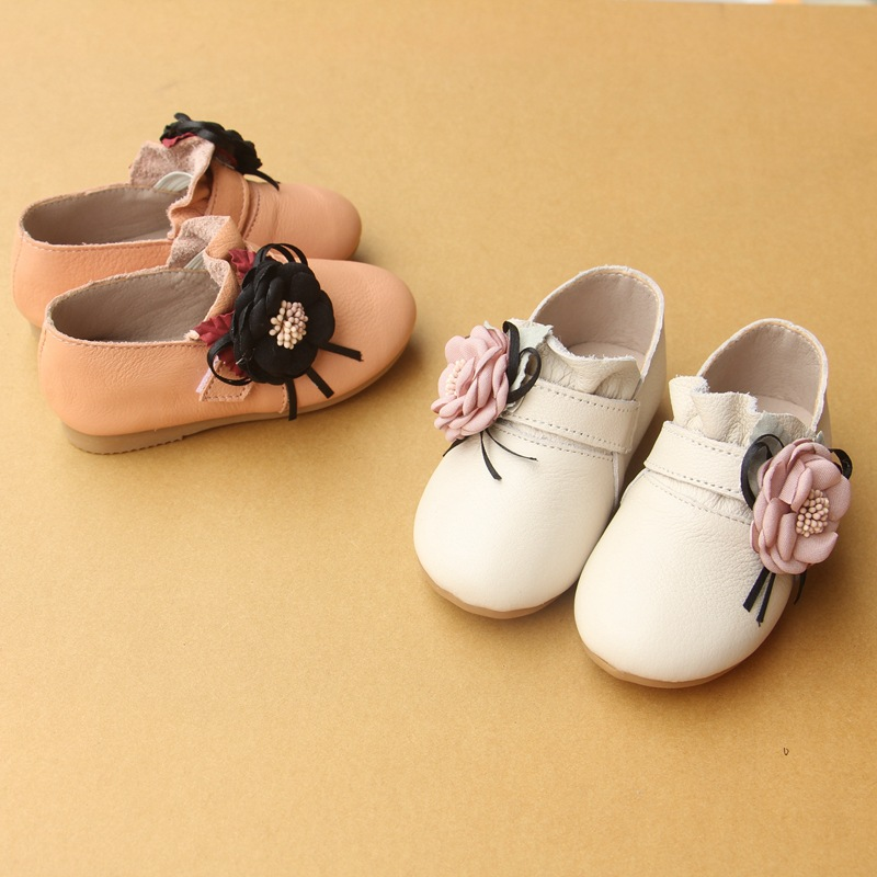Baby First Walkers Genuine Leather Baby Shoes Flower Soft Bottom Leather Shoes for Baby Girls