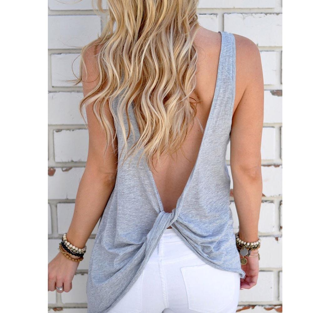 Hitmebox 2018 New Brief Solid Tank Tops Women Summer Cotton Casual Loose Basic Top T-Shirt Sexy Backless Criss Cross Tops