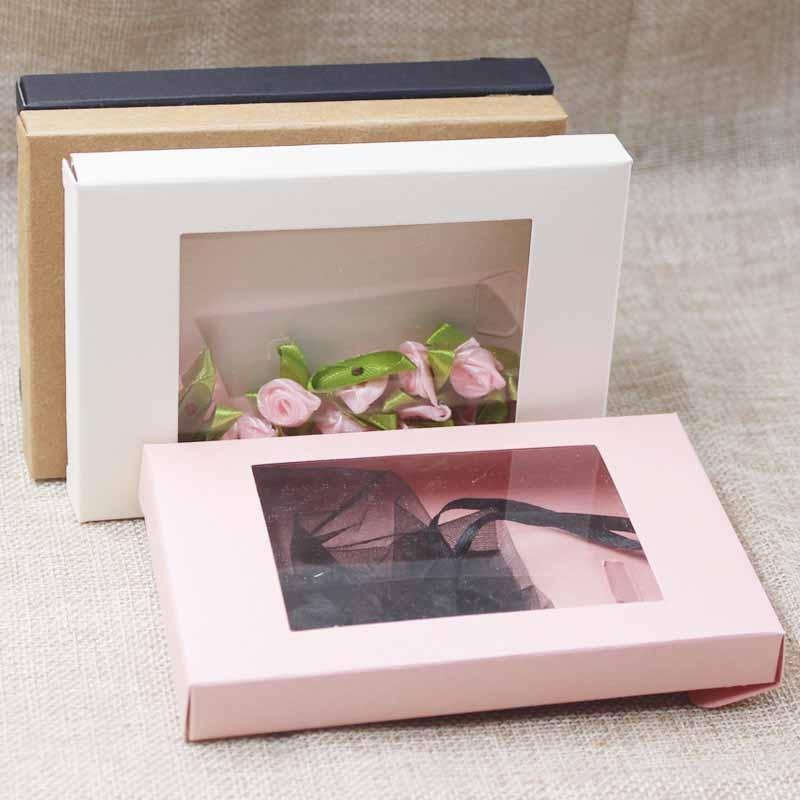 Делюкс многоцветная бумага подарпосылка и дисплей коробка с прозрачное окно ПВХ Конфеты сувениры искусство и крафты посылка коробка 10 шт.