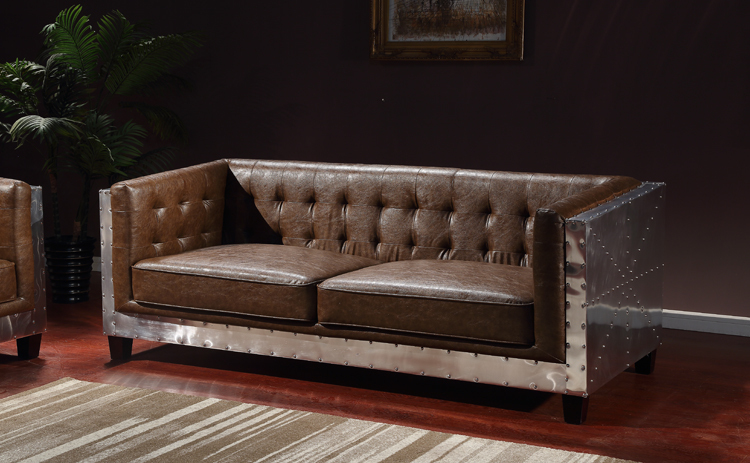 Delightful Rivet Aluminum Skin Space Industry Loft Style Living Room Combination Of  American Vintage Wax Leather Sofa Chair Armrest Special In Garden Sofas  From ...