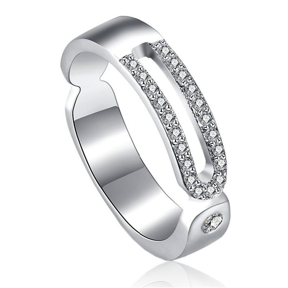 silver plated my princess queen ring two rows crystal design wedding rings for women jewelry