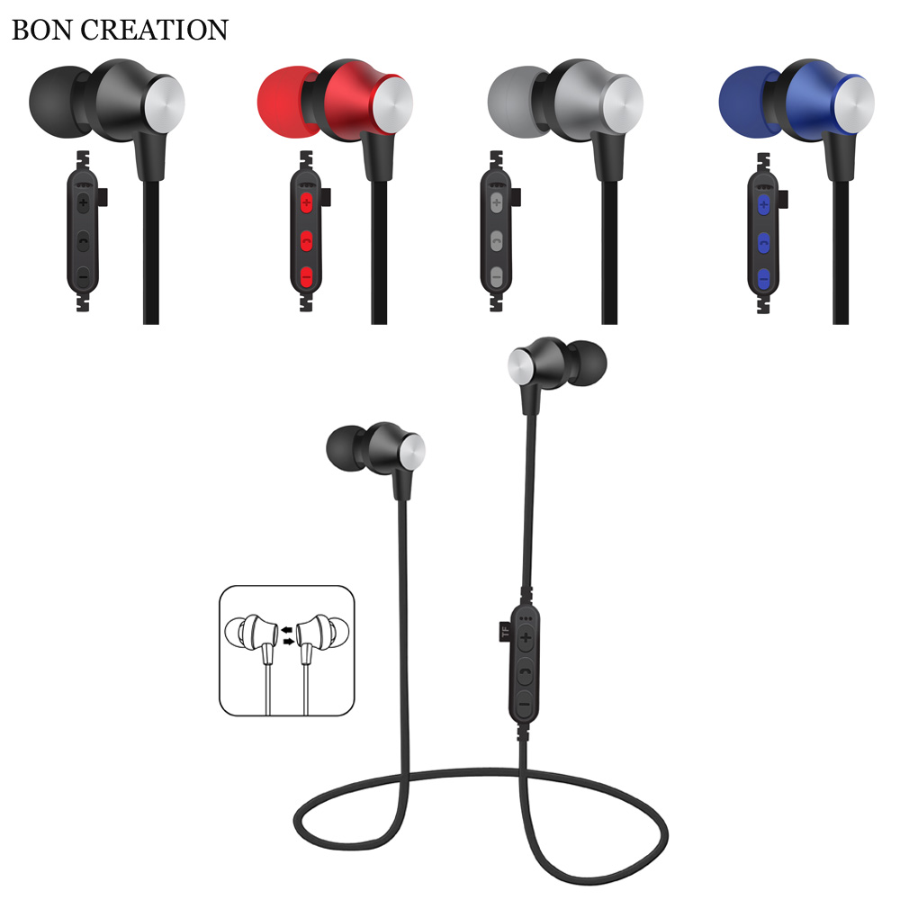 BON CREATION Magnet Bluetooth Earphone Sports Stereo Bluetooth Headset with Microphone Wireless Headphones for Mobile Phone