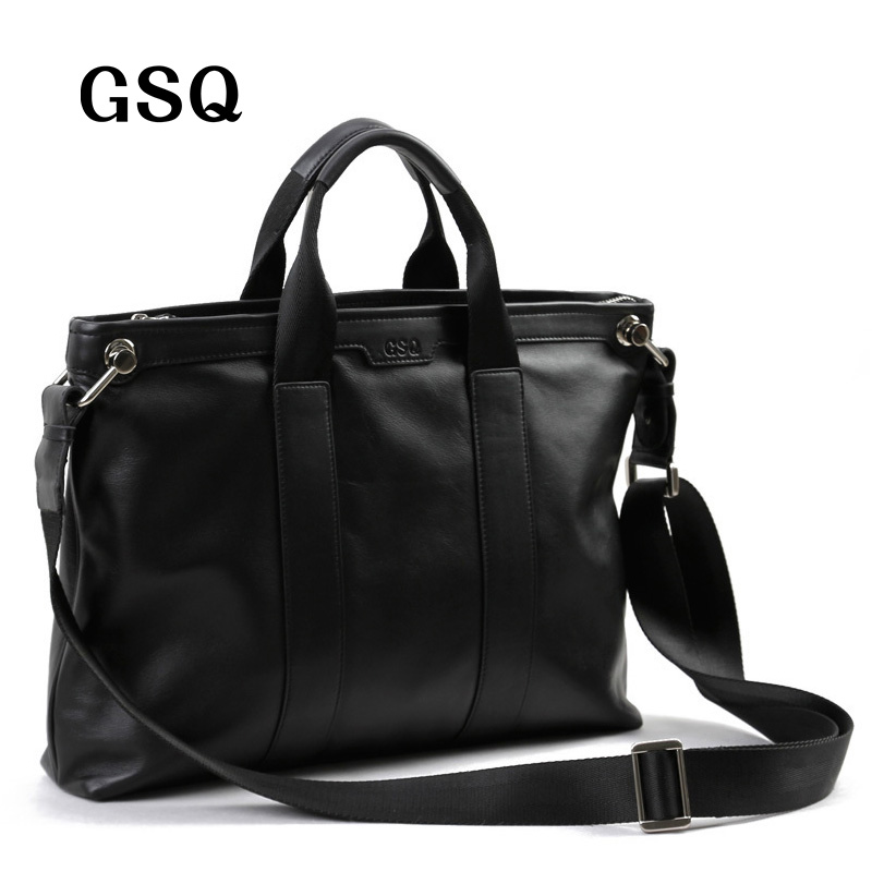 GSQ Men Messenger Bags Leather Bag Men Briefcase 14' Computer Bags Fashion Handbags High Quality Famous Brand Business Bag цены онлайн