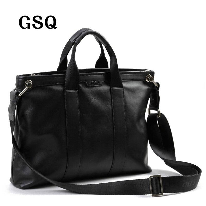 цена на GSQ Men Messenger Bags Leather Bag Men Briefcase 14' Computer Bags Fashion Handbags High Quality Famous Brand Business Bag
