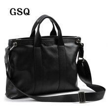 2016 GSQ Männer Messenger Bags Leder Männer Aktentasche 14′ Taschen-computer Mode Handtaschen Hohe Qualität Berühmte Marke Business-tasche