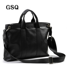 2016 GSQ Men Messenger Bags Leather Bag Men Briefcase 14′ Computer Bags Fashion Handbags High Quality Famous Brand Business Bag