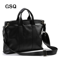 2016 GSQ Fashion England Style Hot Selling Leather Black Men Bag Zipper Style Handbag Shoulder Bags