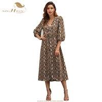 SISHION Snake Print Women Dress C3069 2019 Spring Plus Size Split Single breasted Long Midi Maxi Dress Elegant Cub Party Dresses