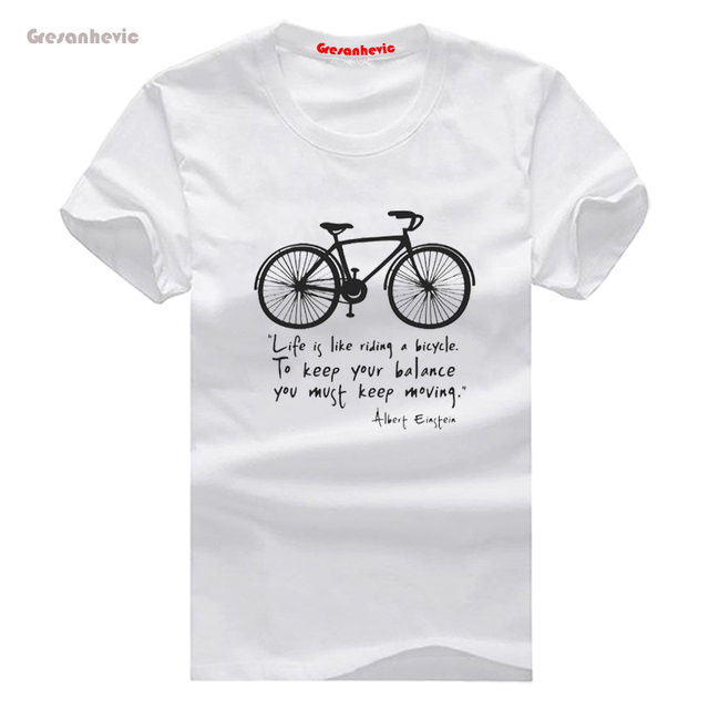 7d6ec1d58 La vida es como montar una bicicleta nueva camiseta de moda para hombre de  manga corta