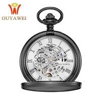 Antique Skeleton Pocket Watch Chain Men Vintage Bracelet Watch Skeleton Male Clock Transparent Black Retro Fob