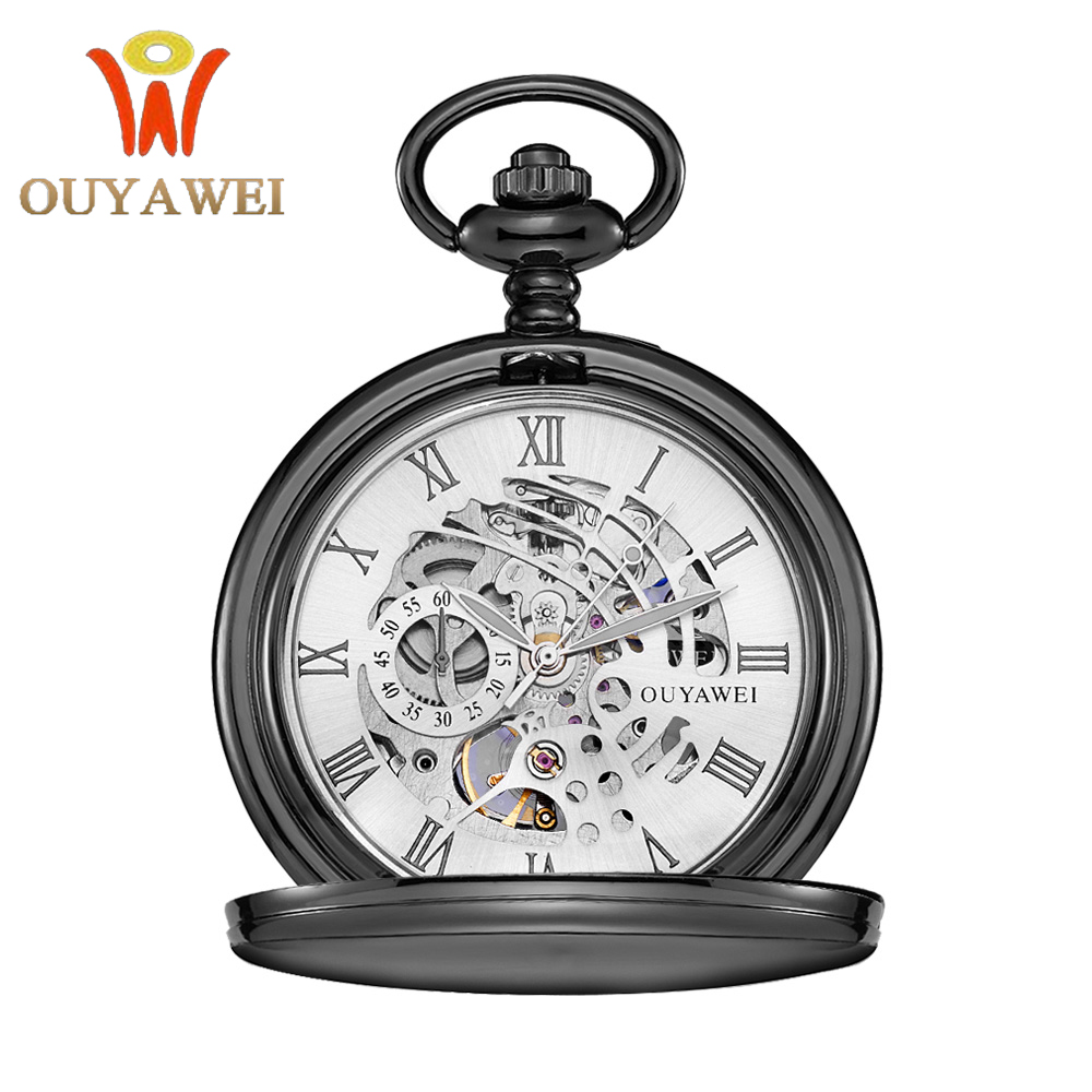 Antique Skeleton Pocket Watch Chain Men Vintage Bracelet Watch Skeleton Male Clock Transparent Black  Retro Fob Watches Gift
