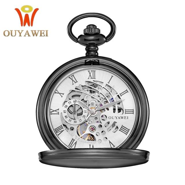 Antique Skeleton Pocket Watch Chain Men Vintage Bracelet Male Clock Transparent Black Retro Fob