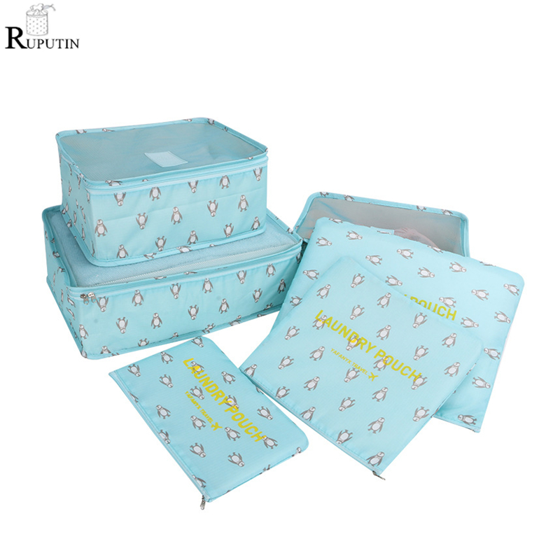 RUPUTIN Drop Ship 6Pcs/set Oxford Cloth Packing Cube Suitcase Storage Bags Travel Organizer Cosmetic Clothes Shoes Mesh zip Bag