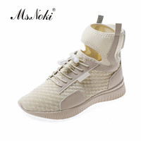 Ms.Noki fashion solid Breathable high heel women single shoes platform ladies casual shoes Takayuki flat with women sexy shoes