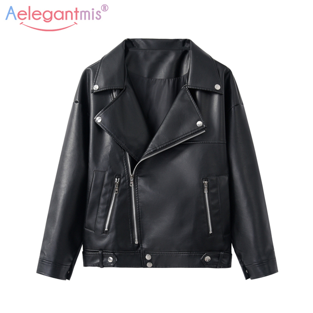 Aelegantmis New Solto PU Faux Leather Jacket Mulheres Clássico Moto Jaqueta Biker Casaco Senhora Primavera Outono Básico Plus Size Outerwear