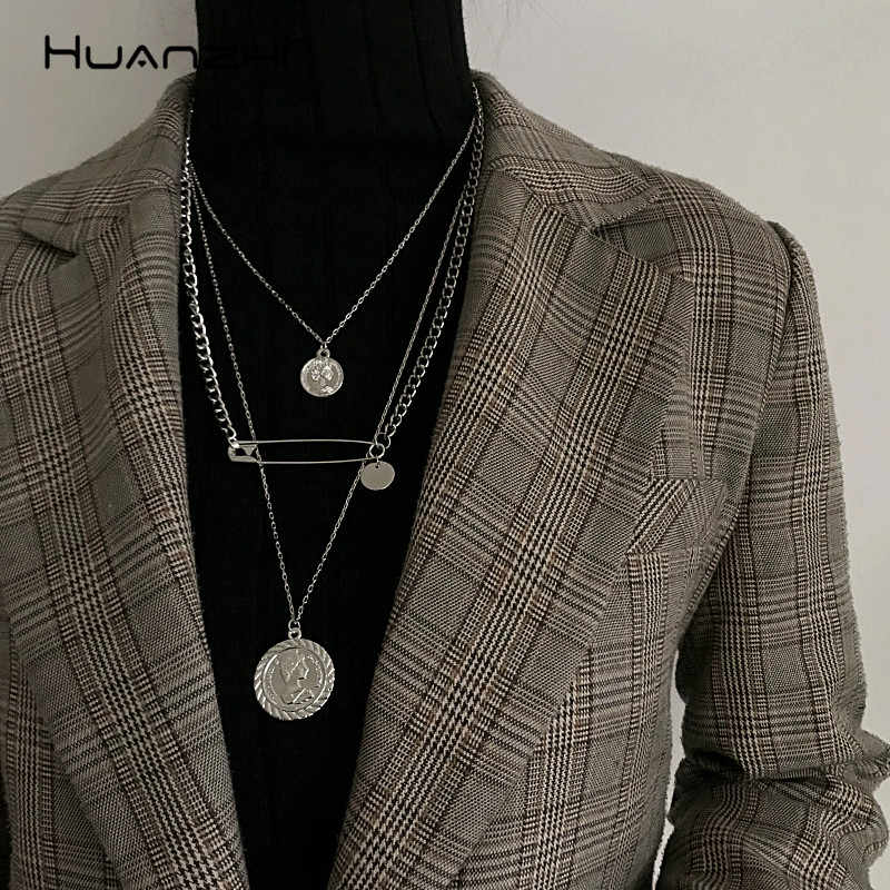 HUANZHI Coin Portrait Paper Clip Pendant Design Punk Chic Silver Gold Color Metal Long Chain Necklaces For Women Men Jewelry