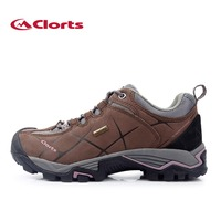 Clorts Lady Hiking Shoes Waterproof Nubuck Outdoor Shoes Woman Trekking Shoes for Climbing Brown Color HKL-805C