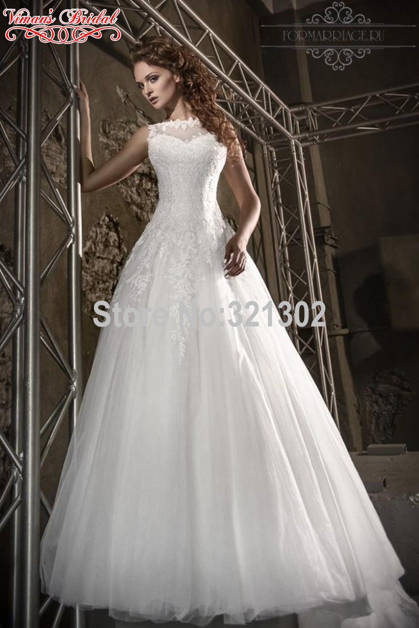 2015 vestido De boda más nuevo caro Boat Neck sin mangas botón ...