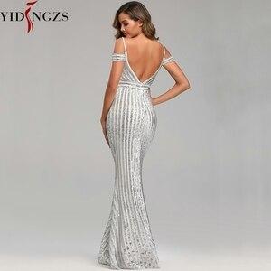 Image 3 - Сексуальное длинное вечернее платье YIDINGZS с блестками, вечернее платье с открытой спиной, золотистое/серебристое/черное YD9612