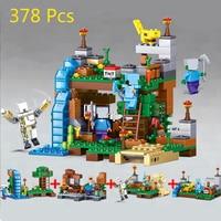 378pcs Compatible Legoe Minecrafted City Figures Building Blocks Mine World DIY Garden Bricks Blocks Educational Kids