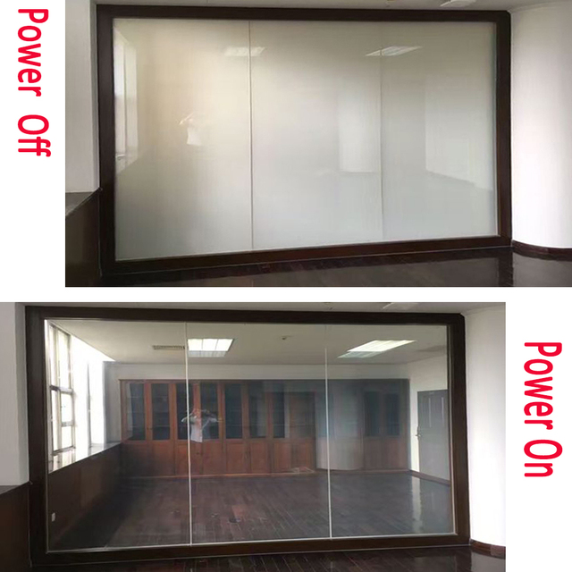 100cmx 100cm + power supply switchable  PDLC smart film power on transparent po wer off opaque
