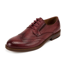 QYFCIOUFU High Quality Genuine Leather Men Dress Shoes Lace Up Retro Business Wedding Formal Flats Shoes For Men Brogue Shoes