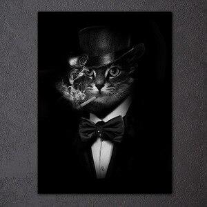 HD печать 1 шт Холст Искусство курить Джентльмен кошка Живопись Черный абстрактный настенные картинки для гостиной Бесплатная доставка NY-6911D