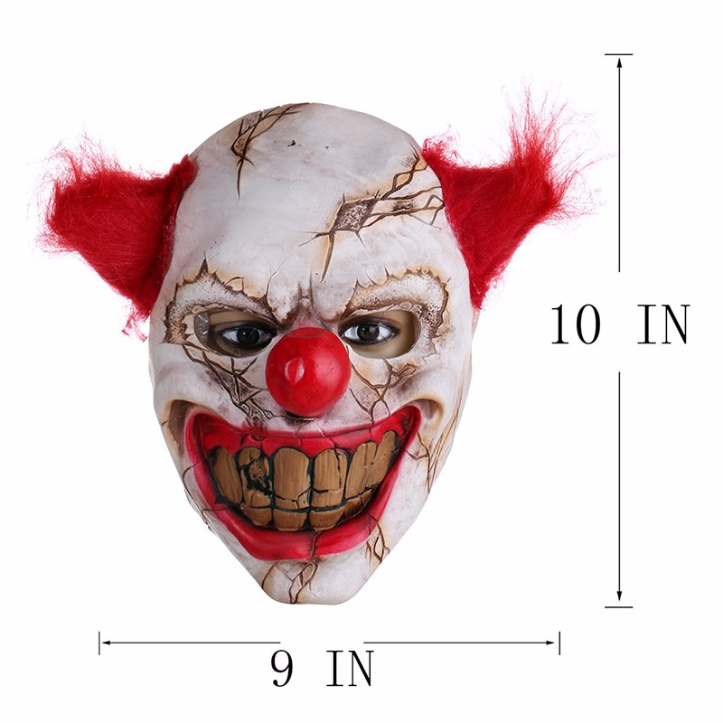 Scary Clown Latex Mask Big Mouth Red Hair Nose Cosplay Full Face Horror Masquerade Adult Ghost Party Mask for Halloween Props (3)