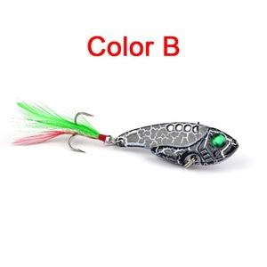 Image 3 - 1pcs Metal VIB 11G/5.5CM Fishing Lure Vibration Spoon Lure Crankbait Bass  Artificial Hard Baits with Feather Cicada VIB tackle