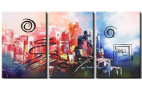 Handpainted Graffiti Line Circle Acrylic Paintings Colorful Abstract Oil Painting on Canvas Modern Home Decor 3 Panel Wall Art
