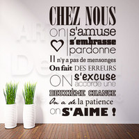 Art design home decoration cheap vinyl french quote rules words wall sticker removable house decor characters decals in rooms