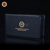 2015 Year Thailand Gold Plated Banknote Leather Baht Album Value Collection